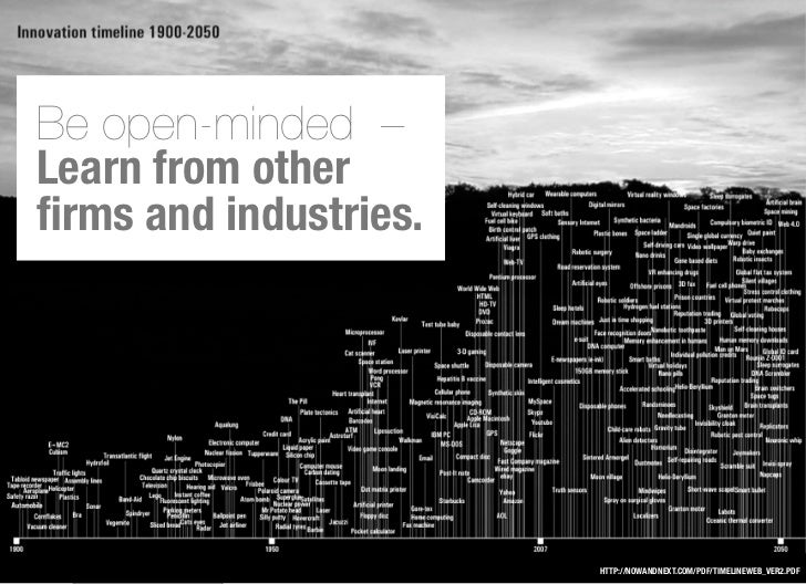 Be open-minded –Learn from otherfirms and industries.                       HTTP://NOWANDNEXT.COM/PDF/TIMELINEWEB_VER2.PDF
