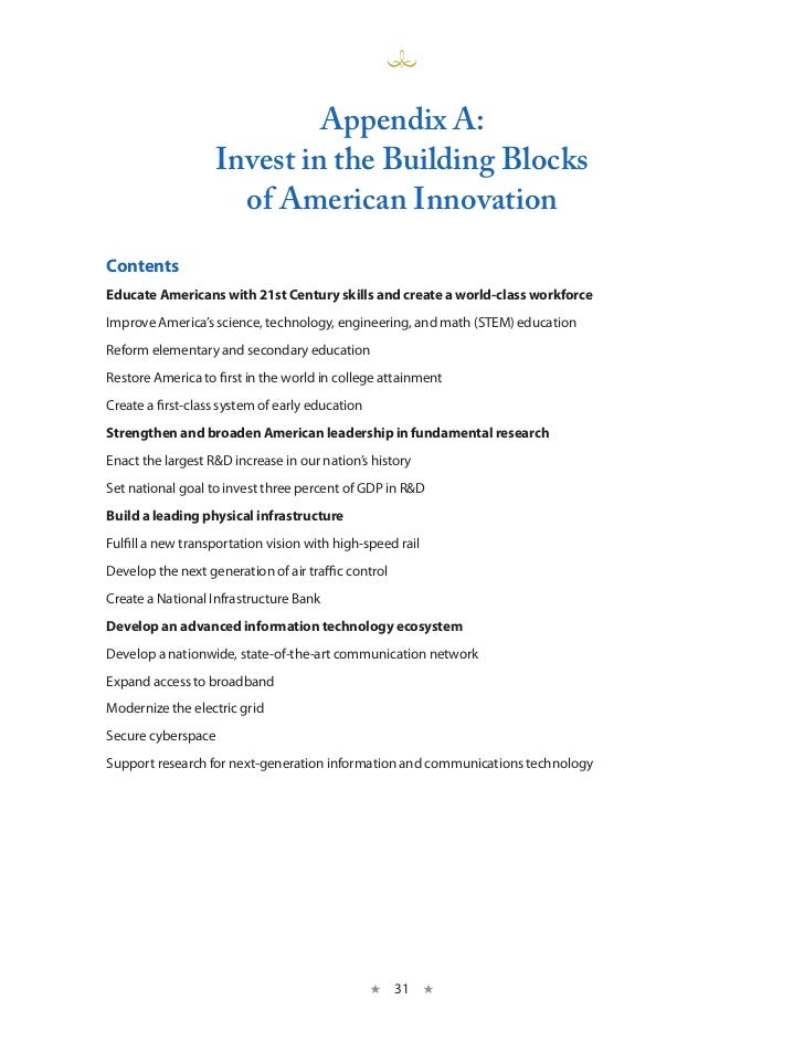 Appendix A:                   invest in the Building Blocks                     of American innovationContentsEducate Amer...