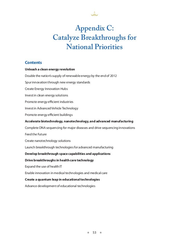 Appendix C:                    Catalyze Breakthroughs for                        national PrioritiesContentsUnleash a clea...