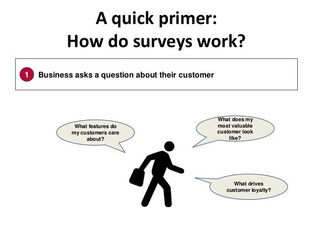 A quick primer: How do surveys work? What features do my customers care about? 1 Business asks a question about their cust...