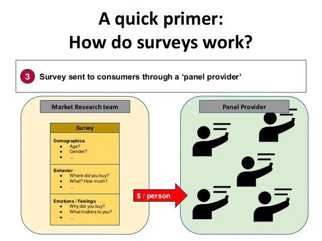 A quick primer: How do surveys work? 3 Survey sent to consumers through a 'panel provider' Demographics ● Age? ● Gender? ●...