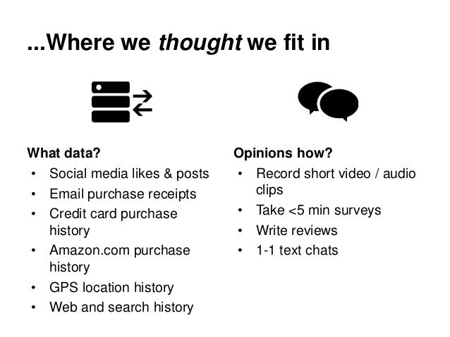 ...Where we thought we fit in What data? • Social media likes & posts • Email purchase receipts • Credit card purchase his...