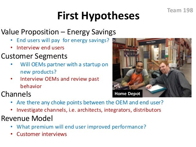 First Hypotheses Value Proposition – Energy Savings • End users will pay for energy savings? • Interview end users Custome...