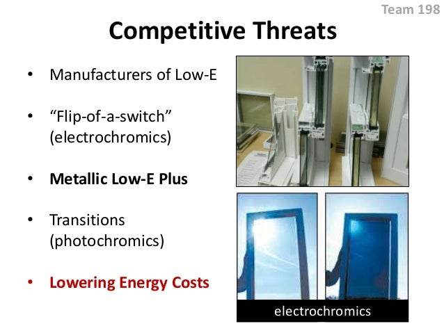 "Competitive Threats • Manufacturers of Low-E • ""Flip-of-a-switch"" (electrochromics) • Metallic Low-E Plus • Transitions (p..."