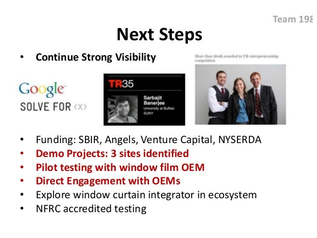 Next Steps • Continue Strong Visibility • Funding: SBIR, Angels, Venture Capital, NYSERDA • Demo Projects: 3 sites identif...