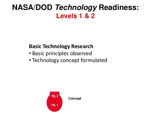NASA/DOD Technology Readiness: Levels 1 & 2 Basic Technology Research • Basic principles observed • Technology concept for...