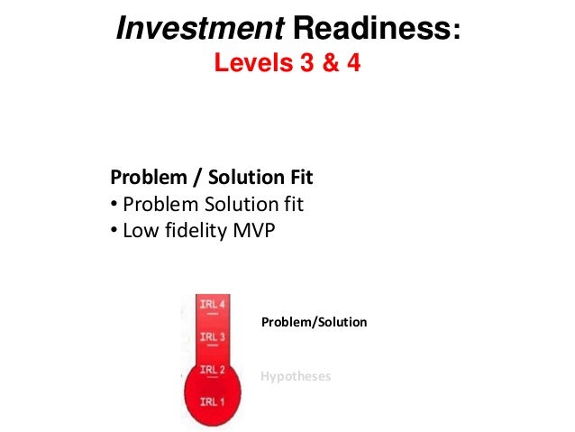 Investment Readiness: Levels 3 & 4 Problem / Solution Fit • Problem Solution fit • Low fidelity MVP Hypotheses Problem/Sol...