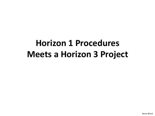 Horizon 1 Procedures Meets a Horizon 3 Project Steve Blank