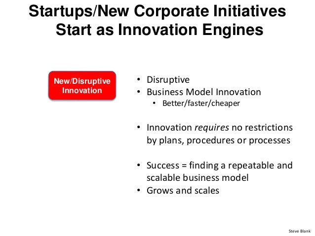 Startups/New Corporate Initiatives Start as Innovation Engines New/Disruptive Innovation • Disruptive • Business Model Inn...