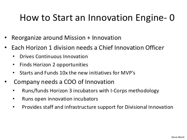 How to Start an Innovation Engine- 0 • Reorganize around Mission + Innovation • Each Horizon 1 division needs a Chief Inno...