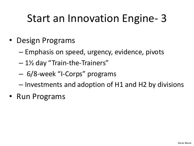 """Start an Innovation Engine- 3 • Design Programs – Emphasis on speed, urgency, evidence, pivots – 1½ day """"Train-the-Trainer..."""