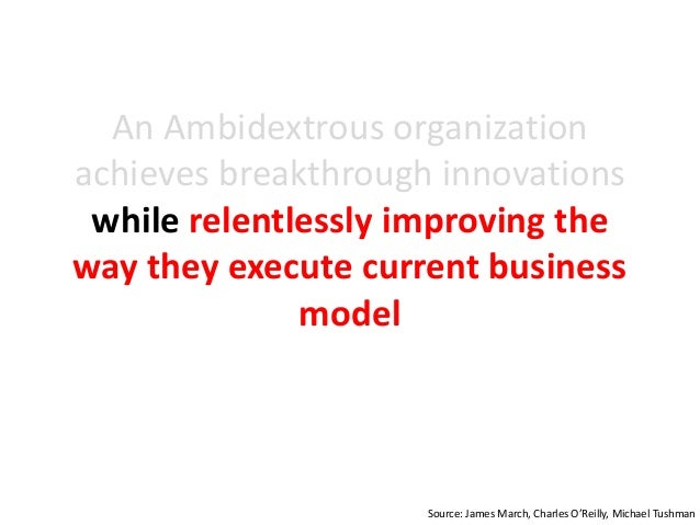 An Ambidextrous organization achieves breakthrough innovations while relentlessly improving the way they execute current b...