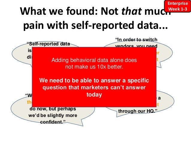 """What we found: Not that much pain with self-reported data... """"Self-reported data isn't great, but it's directionally good ..."""