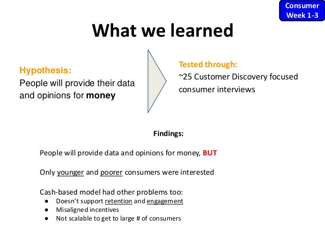 What we learned Hypothesis: People will provide their data and opinions for money Consumer Week 1-3 Findings: People will ...