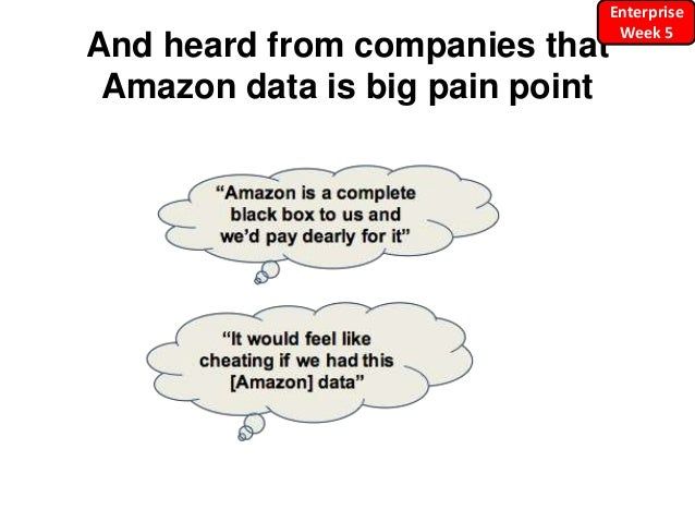 And heard from companies that Amazon data is big pain point Enterprise Week 5