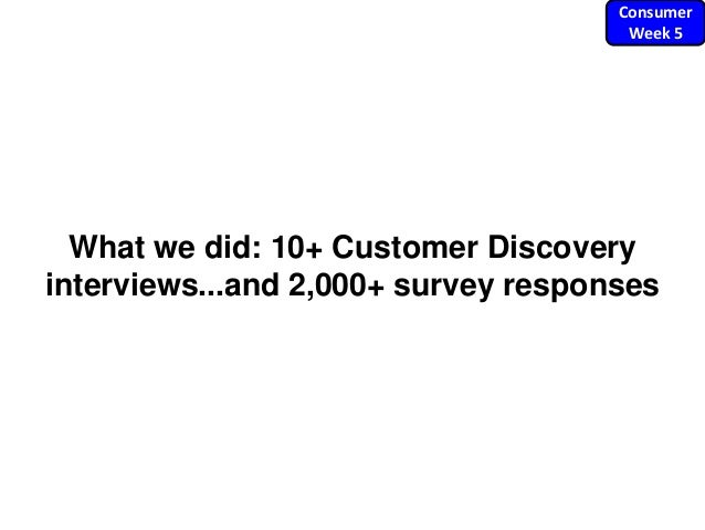 What we did: 10+ Customer Discovery interviews...and 2,000+ survey responses Consumer Week 5