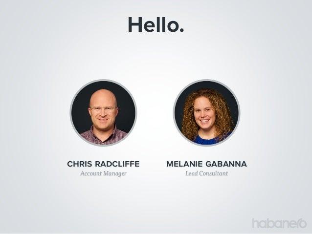 Hello. Lead Consultant melanie gabanna Account Manager chris radcliffe