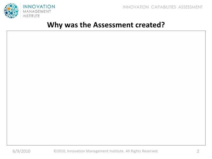 Innovation Capabilities Assessment - Introduction Slide 2