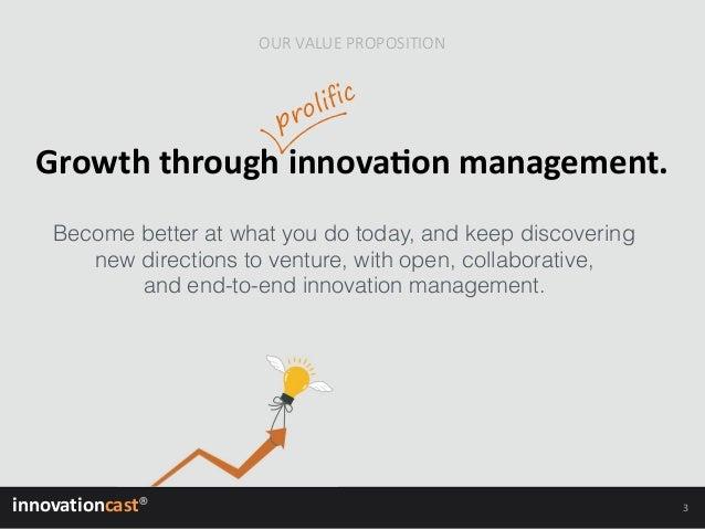 Growth through prolific innovation management Slide 3
