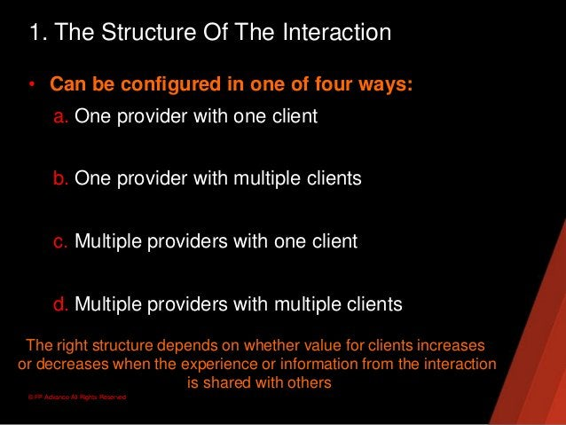 © FP Advance All Rights Reserved1. The Structure Of The Interaction• Can be configured in one of four ways:a. One provider...