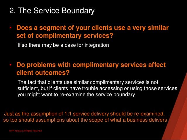© FP Advance All Rights Reserved2. The Service Boundary• Does a segment of your clients use a very similarset of complimen...