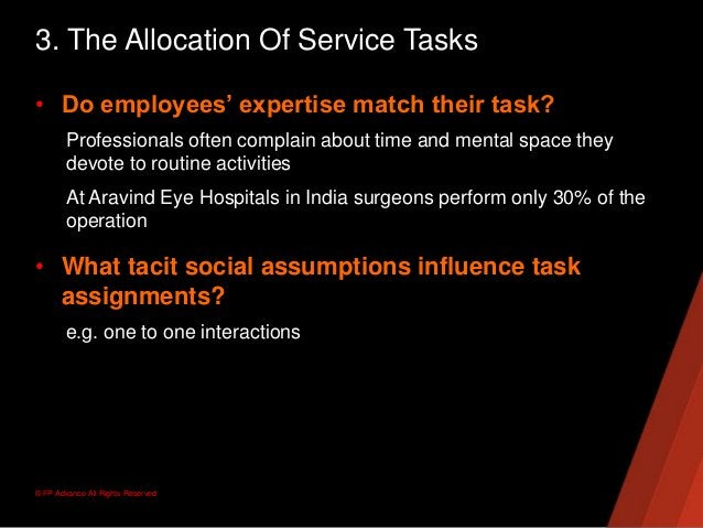 © FP Advance All Rights Reserved3. The Allocation Of Service Tasks• Do employees' expertise match their task?Professionals...