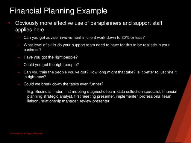 © FP Advance All Rights ReservedFinancial Planning Example• Obviously more effective use of paraplanners and support staff...