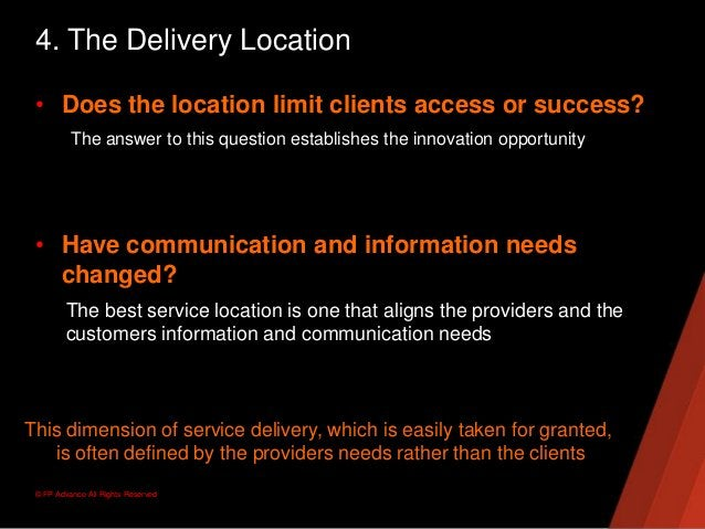 © FP Advance All Rights Reserved4. The Delivery Location• Does the location limit clients access or success?The answer to ...