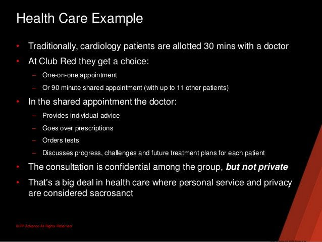 © FP Advance All Rights ReservedHealth Care Example• Traditionally, cardiology patients are allotted 30 mins with a doctor...