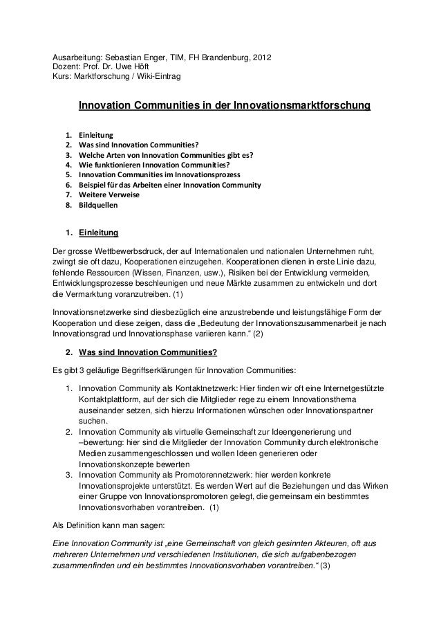 Ausarbeitung: Sebastian Enger, TIM, FH Brandenburg, 2012 Dozent: Prof. Dr. Uwe Höft Kurs: Marktforschung / Wiki-Eintrag In...