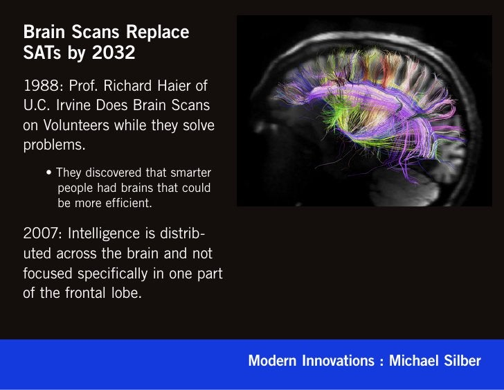 Brain Scans ReplaceSATs by 20321988: Prof. Richard Haier ofU.C. Irvine Does Brain Scanson Volunteers while they solveprobl...