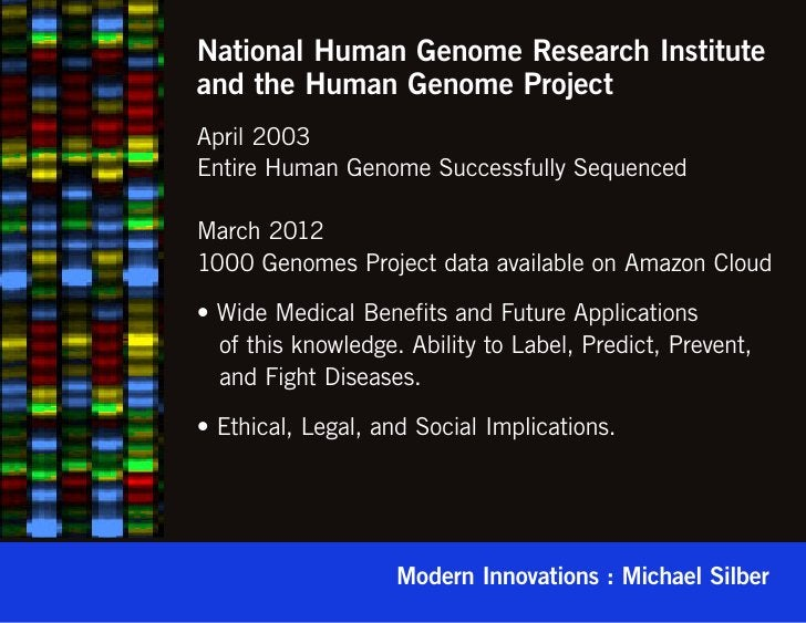 National Human Genome Research Instituteand the Human Genome ProjectApril 2003Entire Human Genome Successfully SequencedMa...