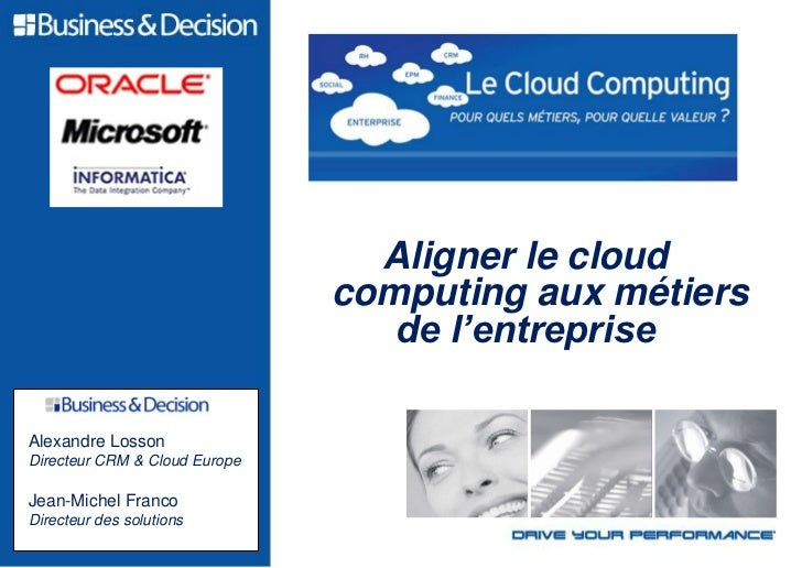 L'Innovation au service                                   de la performance                                 Aligner le clo...