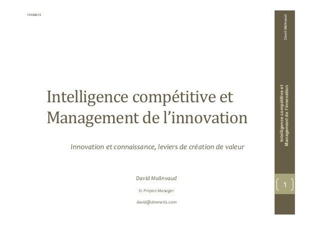 Intelligencecompétitiveet Managementdel'innovation Innovation  et  connaissance,  leviers  de  création  de  ...