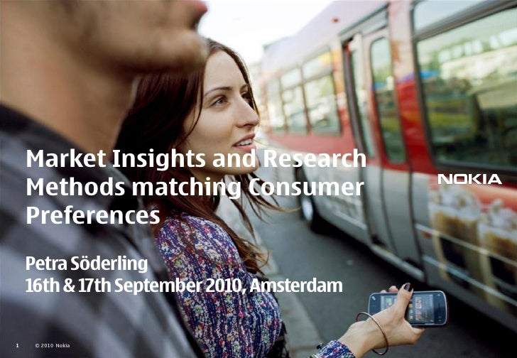Market Insights and Research     Methods matching Consumer     Preferences     Petra Söderling     16th & 17th September 2...