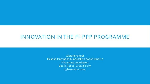 Innovation in the FI PPP Programme