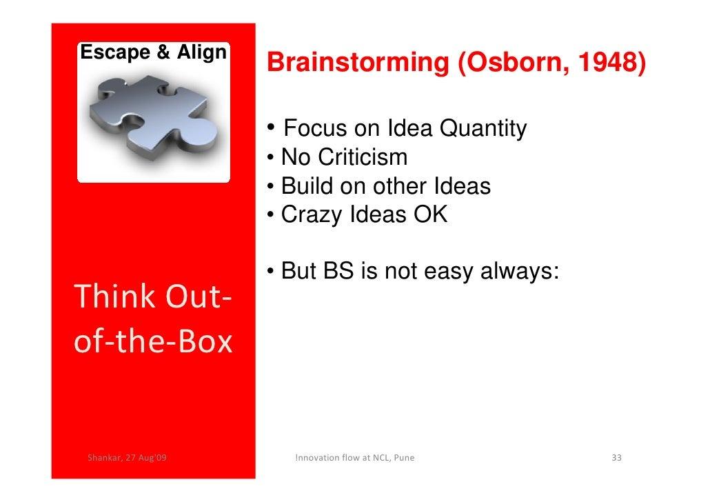 Escape & Align                      Brainstorming (Osborn, 1948)                       • Focus on Idea Quantity           ...
