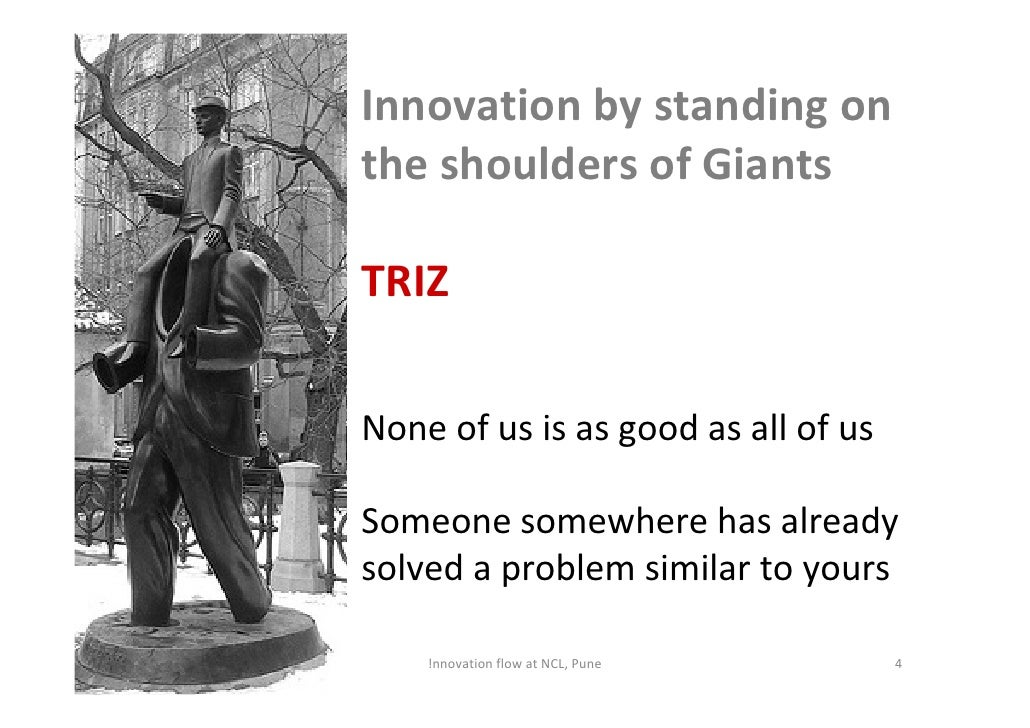 Innovation by standing on                      the shoulders of Giants                       TRIZ                       No...
