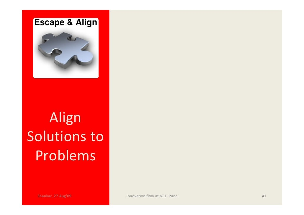 Escape & Align        Align Solutions to  Problems   Shankar, 27 Aug'09   !nnovation flow at NCL, Pune   41