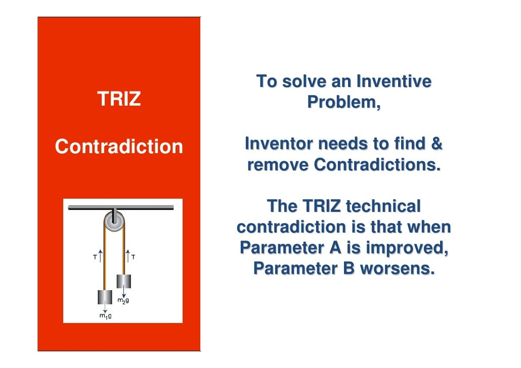 To solve an Inventive     TRIZ                Problem,  Contradiction   Inventor needs to find &                 remove Co...