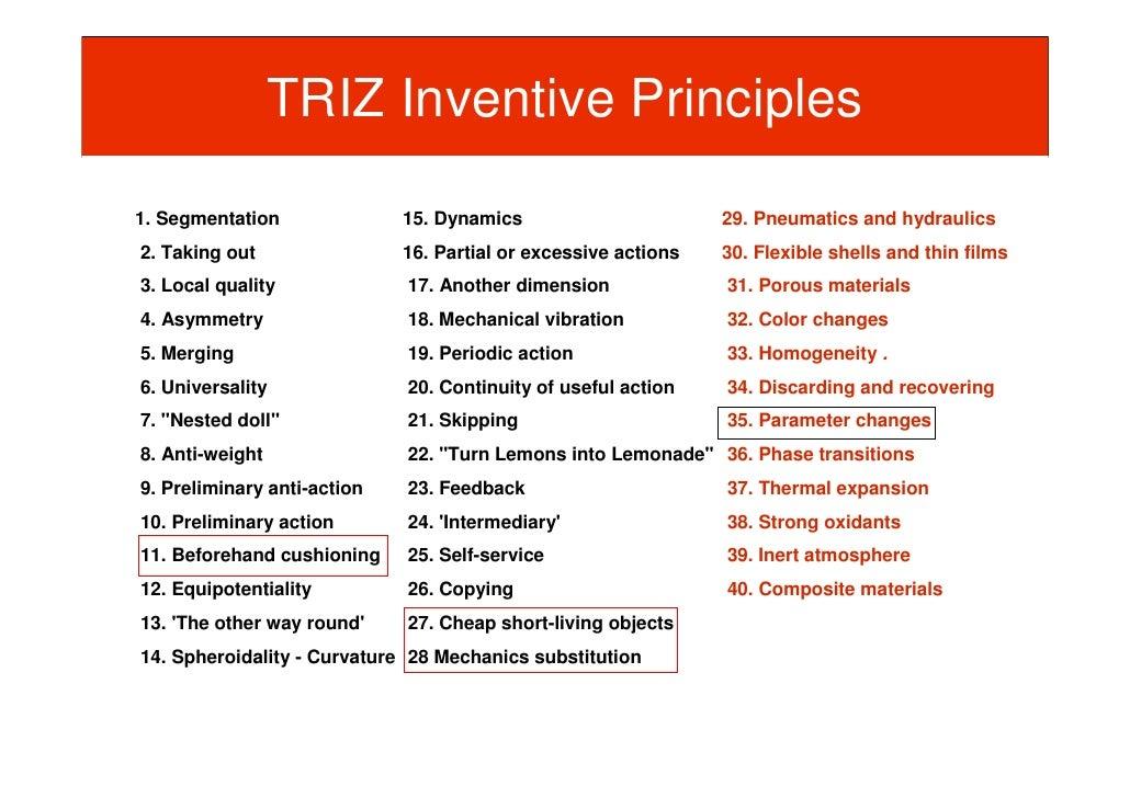 TRIZ Inventive Principles  1. Segmentation              15. Dynamics                       29. Pneumatics and hydraulics 2...
