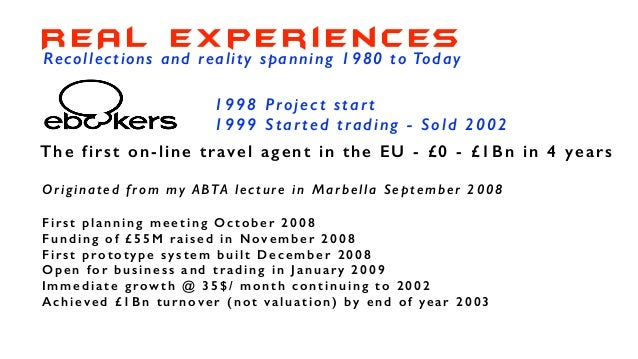 1995 Project start 1996 Started trading - Closed 2003 An 'idea - to market incubator' in Silicon Valley People came to us ...