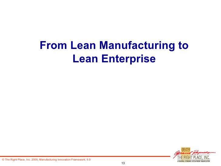 From Lean Manufacturing to Lean Enterprise