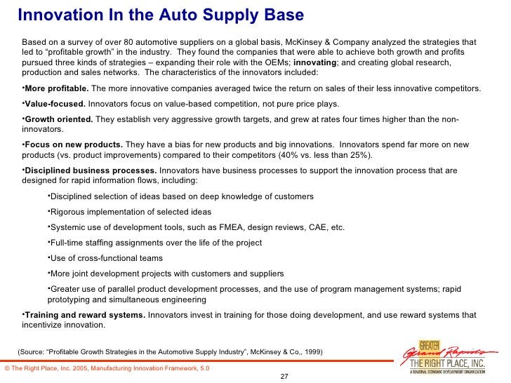 Innovation In the Auto Supply Base <ul><li>Based on a survey of over 80 automotive suppliers on a global basis, McKinsey &...