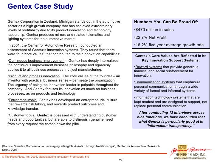 Gentex Case Study <ul><li>Gentex Corporation in Zeeland, Michigan stands out in the automotive sector as a high growth com...
