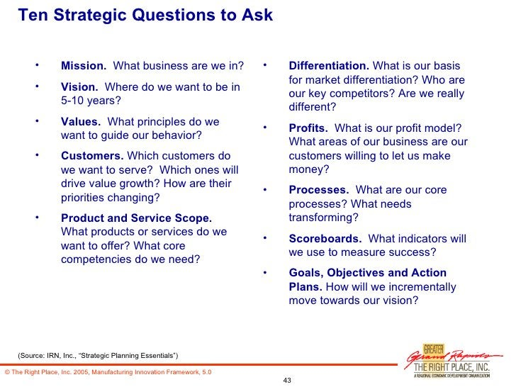 Ten Strategic Questions to Ask <ul><li>Mission.  What business are we in? </li></ul><ul><li>Vision.   Where do we want to ...