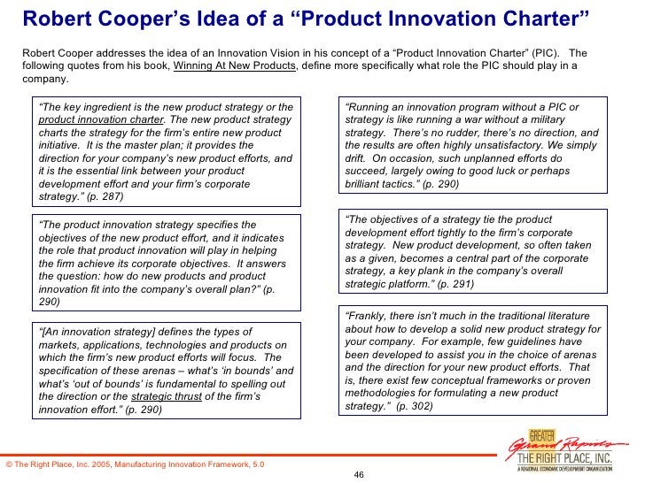 """Robert Cooper's Idea of a """"Product Innovation Charter"""" Robert Cooper addresses the idea of an Innovation Vision in his con..."""