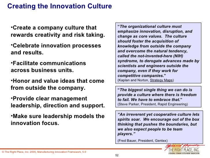 Creating the Innovation Culture <ul><li>Create a company culture that rewards creativity and risk taking. </li></ul><ul><l...