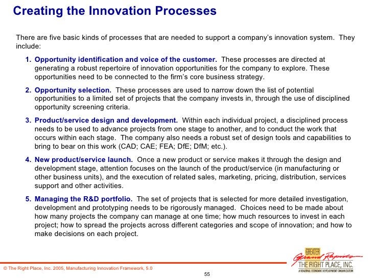 Creating the Innovation Processes <ul><li>There are five basic kinds of processes that are needed to support a company's i...