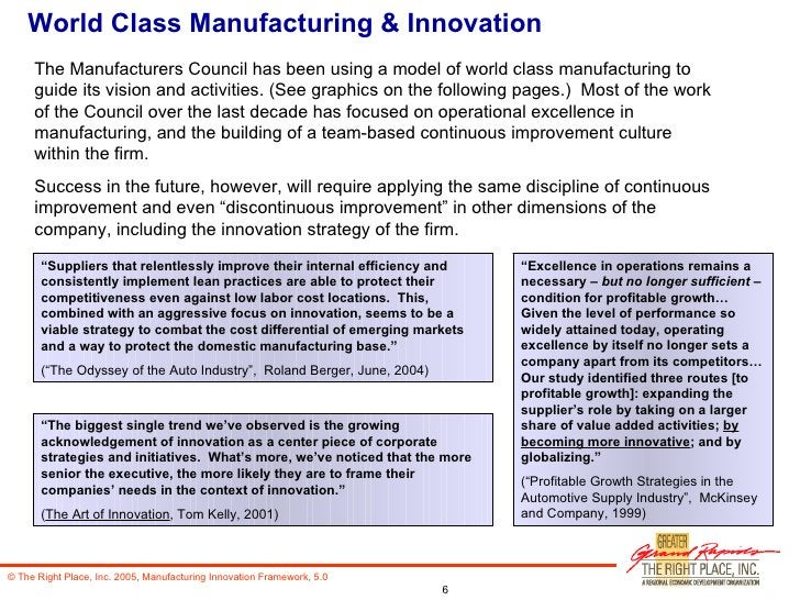 """World Class Manufacturing & Innovation """" Suppliers that relentlessly improve their internal efficiency and consistently im..."""